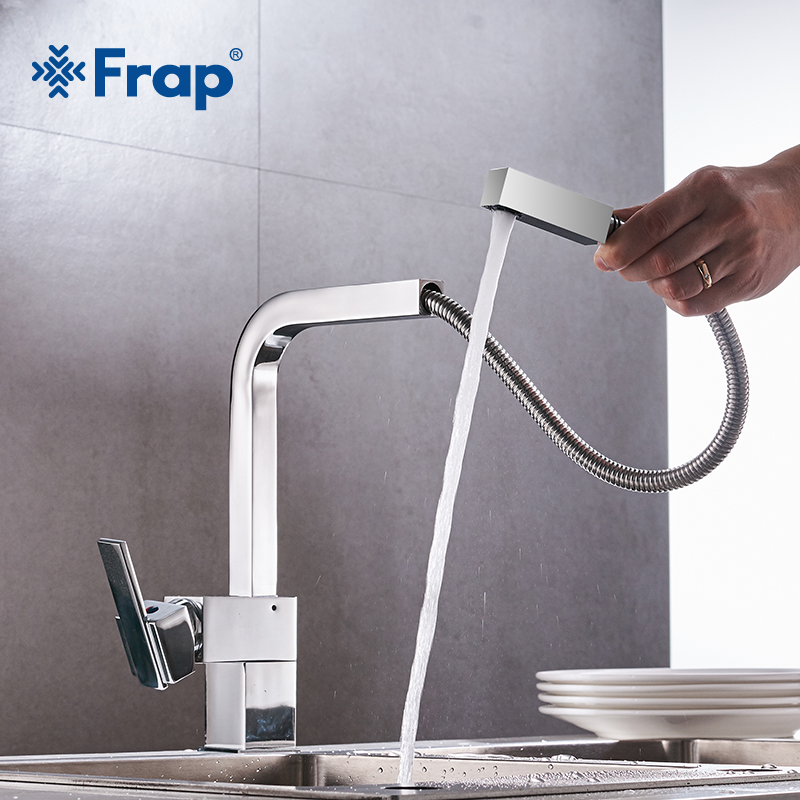 Frap 1 set Kitchen Faucet Brass Hot and Cold Water Kitchen Sink Faucet Pull Out Rotation Spray Mixer Tap Torneira Cozinha Y40022 black chrome kitchen faucet pull out sink faucets mixer cold and hot kitchen tap single hole water tap torneira