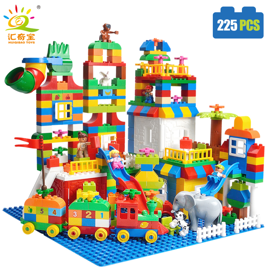 225PCS Big Size Building Blocks Number Train Bricks Birthday Gift DIY Compatible Legoed Duploe Educational Toys For Children ...