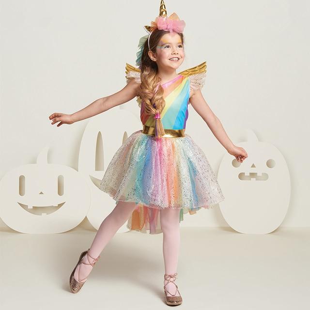 f752473d47b2 Girls Rainbow Unicorn Costume Unicorn Party Dress with Unicorn ...
