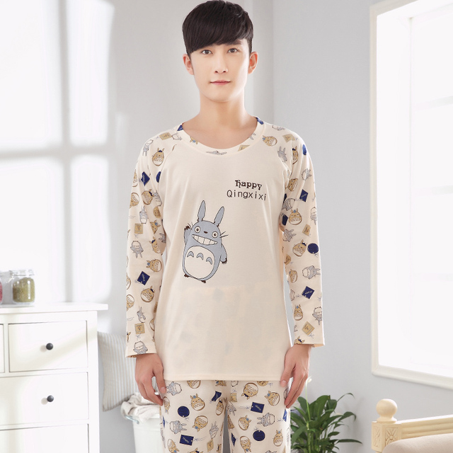 2017 --Men's pajamas spring and autumn cotton long-sleeved cotton men tracksuit suit large yard 4XL