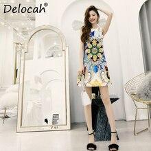 Delocah Women Spring Summer Dress Runway Fashion Designer Sleeveless Gorgeous Crystal Printed Elegant Slim Ladys A-Line Dresses