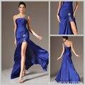 Королевский Синий Высокие Низкие Вечерние Платья 2017 Сшитое Один плечо Вечернее Платье Вечернее Платье Плюс Размер платье de феста