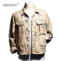 ABOORUN Men's Fashion Denim Jacket Brand Graffiti Embroidery Jean Jacket Spring Autumn Coat for Male x1768