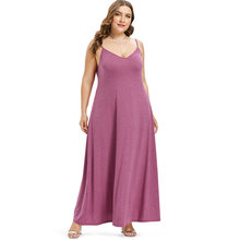 Wipalo Plus Size Spaghetti Strap Maxi Dress Casual Solid Ankle-Length Flowy Dress Holiday Summer Dress Big Size 5XL Vestidos(China)