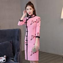 High Quality Chinese Women Vintage Short Slim Wool Cheongsam Qipao Summer Elegant Slim Dress Flowers Size S M L XL XXL