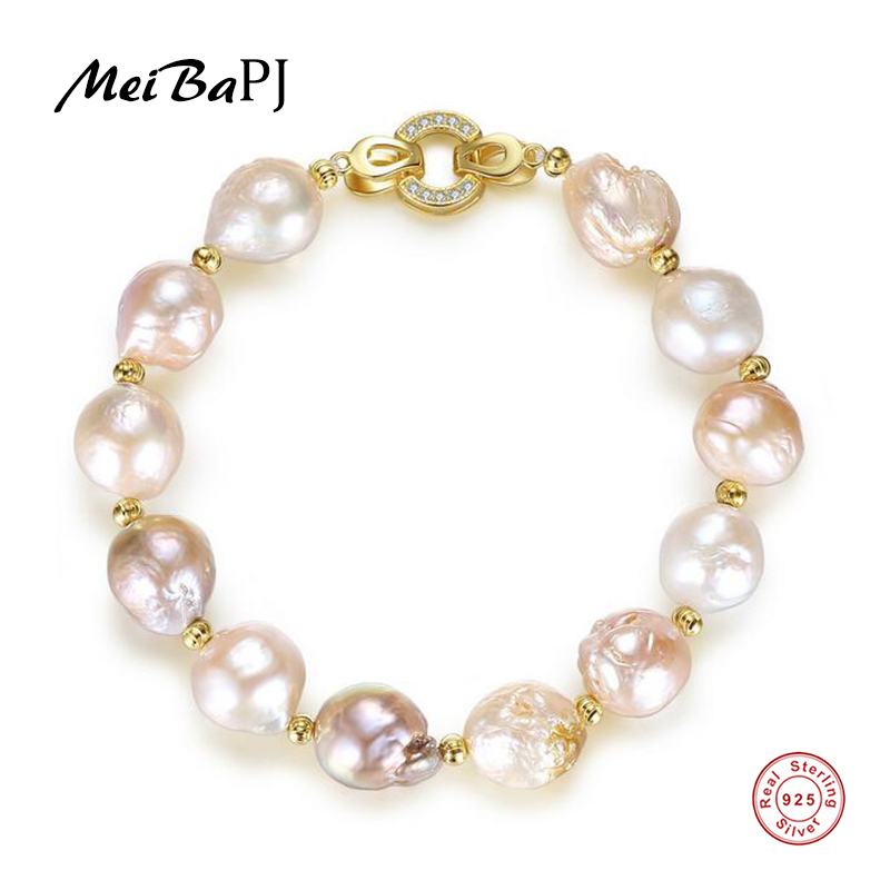 [MeiBaPJ]Fashion Big Baroque Pearls Bracelet 925 Sterling Silver Golden Bangle for Women Gift Fine Jewelry 5pcs fashion 925 sterling silver fine jewelry bangle