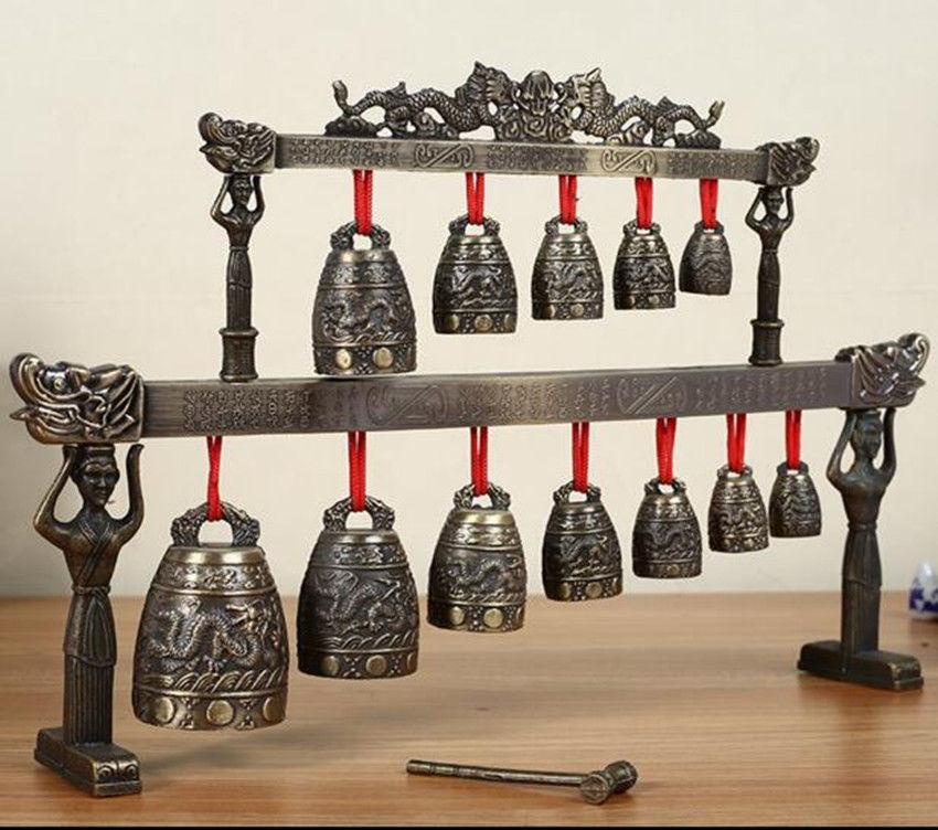 Brass Bells Chinese Dragon Round Shape Glockenspiel Chimes