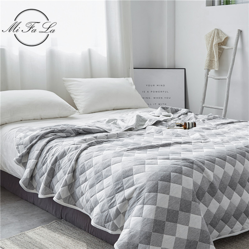 Cotton Knitted Summer Blanket Throw Full Queen Size Air Conditioning Comforter Quilt Soft Plaid Bedspread Sheet