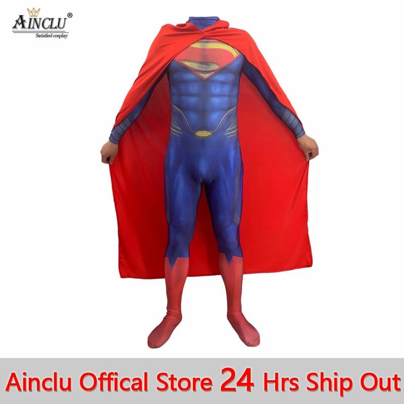 Adult Kids Superman Costumes Lycra Spandex Full Body Justice League Superman : Man Of Steel 2 Superhero Zentai Bodysuit Suit