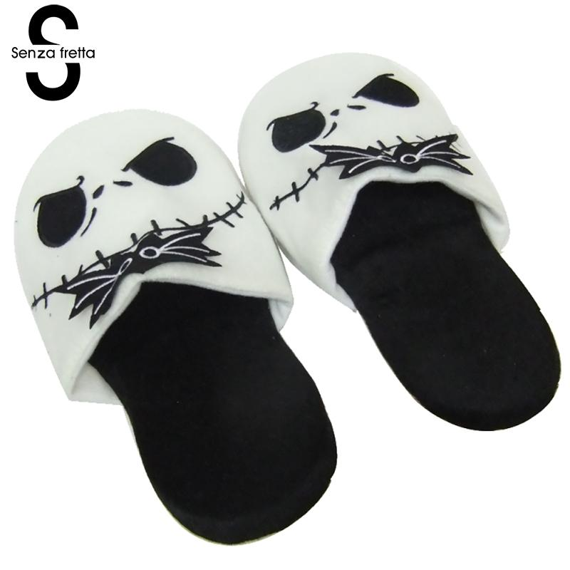 Senza Fretta Winter Warm Cotton Slippers Christmas Skull Pattern Plush Slippers Indoor Women Couples Warm Slippers Plus Size warm plush big feet pattern fully wrapped indoor slippers for winter