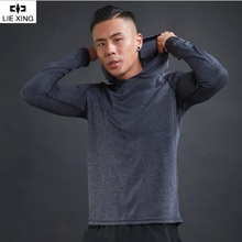 LIEXING Running Shirt Man Men Long Sleeve Hooded Gym T shirt Fitness Training T-shirt Quick Dry Breathable Sports Jersey fitted quick dry gym long sleeve t shirt