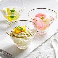 Японский молоток чашка для выпивки холодный напиток сок десертная Чаша Стеклянная чайная чашка с золотой отделкой Хрустальная чашка для мо...