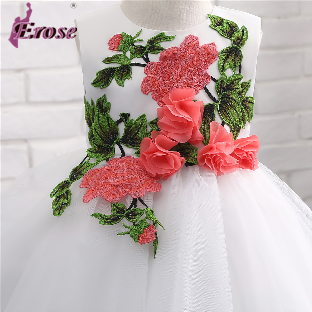 Flower Girl Dress With Leaves And Flower Embroidery Princess Ball