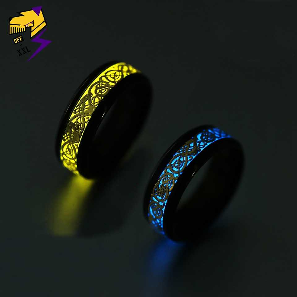 Glow In The Dark Gifts Luminous Band Ring Stainless Steel Jewelry Fluorescent