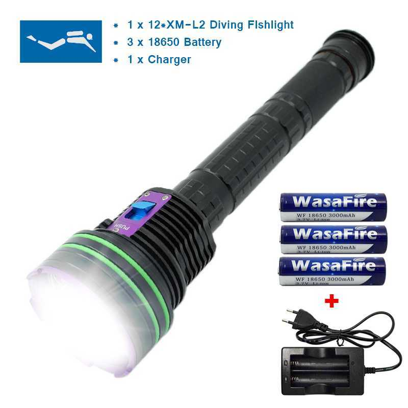 LED Diving Flashlight 12 x XM-L2 20000Lumen Flashlight linternas Underwater Waterproof Lamp Torch have Battery 18650 and Charger