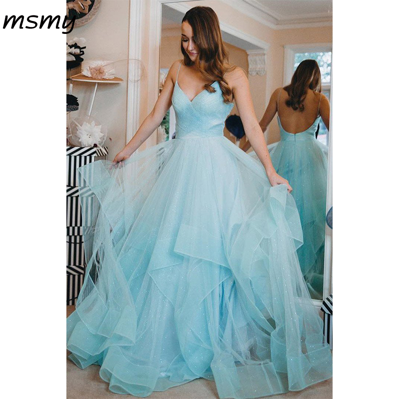 2019 Elegant   Evening     Dresse   A-Line Prom Dresss Floor Length BacklessTiered   Evening   Gowns Custom Made Vestido de noche