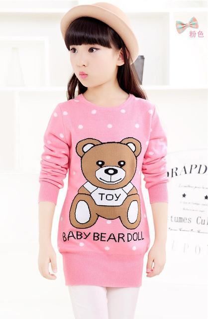 2016 outono e inverno meninas novas Coreano longa camisola crianças camisola urso