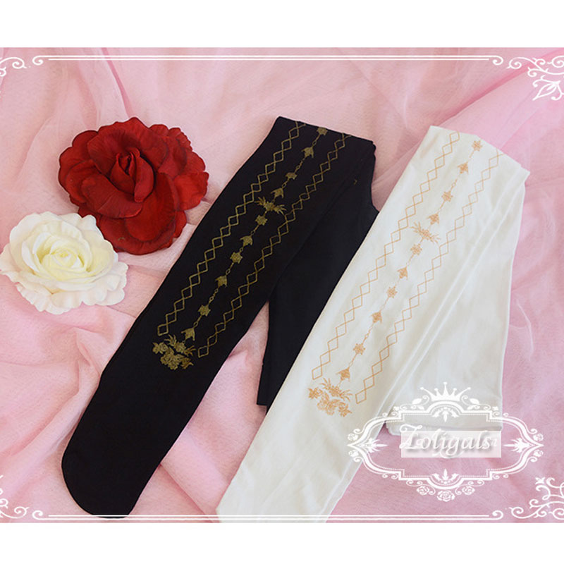 2018 New Sweet Female Lolita Tights Gold Stamped Womens Pantyhose