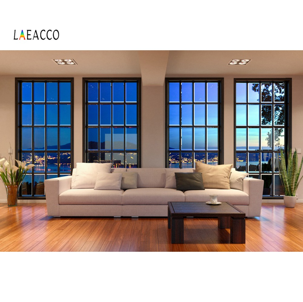 Us 364 24 Offlaeacco Photography Backdrops Modern Living Room Sofa Window City Night Scenic Interior Photocall Photo Background Photo Studio In