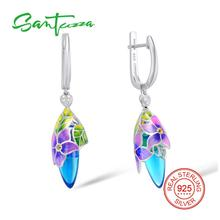 SANTUZZA Silver Earrings For Women 925 Sterling Silver Dangle Earrings Long Silver 925 Cubic Zirconia brincos Jewelry Enamel
