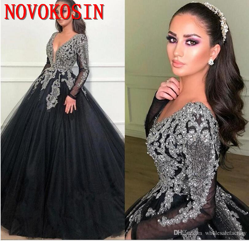 2019 Black Arabic Deep V neck Tulle Ball Gown Quinceanera dresses Sparkling Beaded Long Sleeves Lace Appliqued Party Dresses