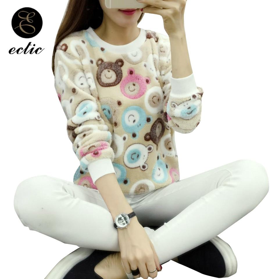 Poleron Mujer 2019 Suede Sweatshirt Cute Panda Kawaii Heart Striped Plush Hoodie Women Harajuku Winter Flannel Hoodie Casual