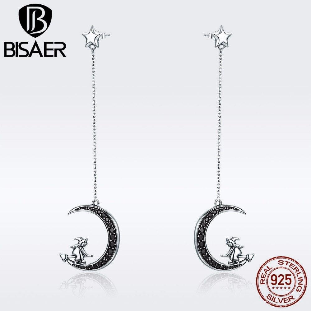 BISAER Real 925 Sterling Silver Long Chain Witch in the Black CZ Moon Stud Earrings for Women Fine Silver Jewelry Brincos GXE287 silver long chain hanging earrings moon star shape