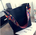 2017 new Luxury Brand Designer Bucket bag Women Leather Wide Strap Shoulder bag Handbag Large Capacity Crossbody bag For Shoppin