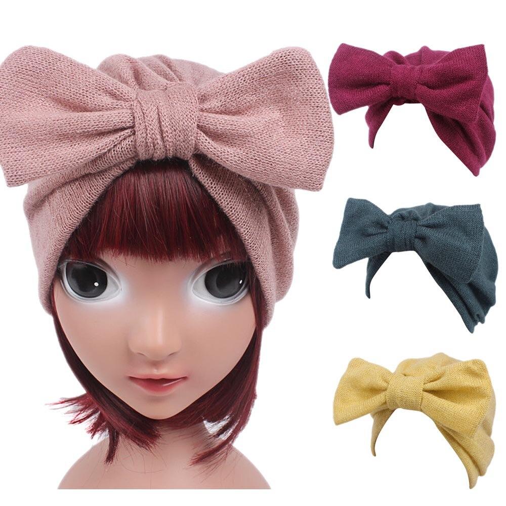Children Baby Girls Knitting Hat Beanie Turban Head Wrap Cap Pile Cap women night sleep hat long hair care chemo cap satin bonnet cap head wrap