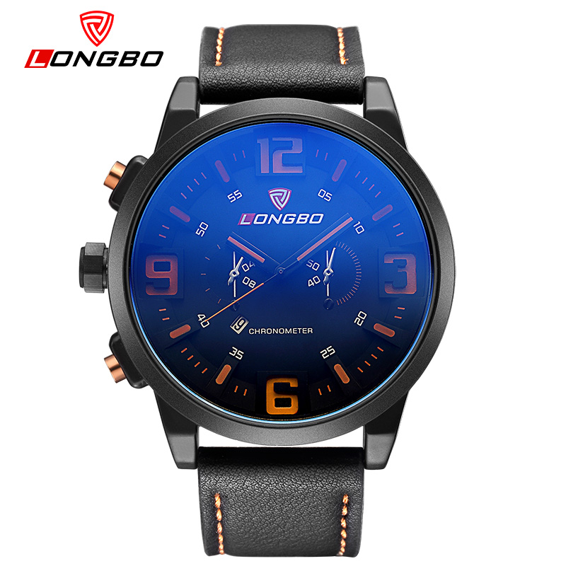 LONGBO Auto Date Casual Wristwatch Fashion Men Geniune Leather Quartz Watch Waterproof Blue Glass Watch Relogio
