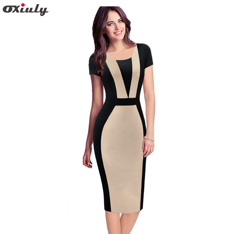 Oxiuly Womens Elegant Optical Illusion Colorblock Contrast Modest Slim Wear to Work Business Casual Party Sheath Pencil Dress in Dresses from Women 39 s Clothing