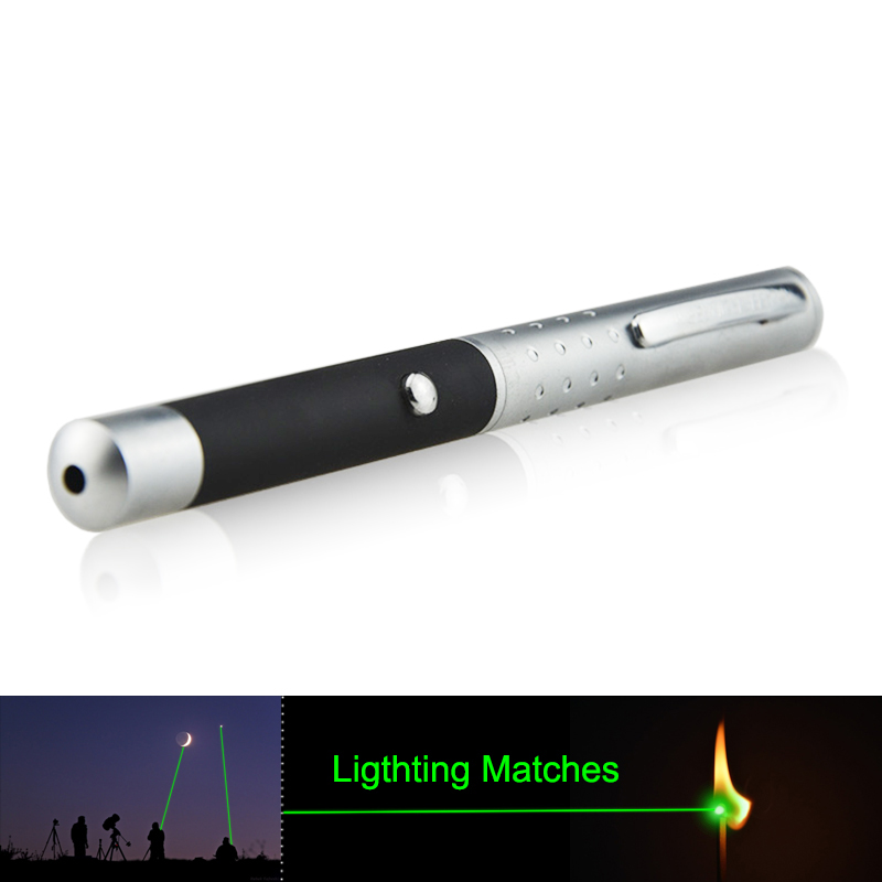 High Power 532nm Green Laser Pointer Pen + Match-Lighting Green Burning Laser Pen (Silver / Black) alloy
