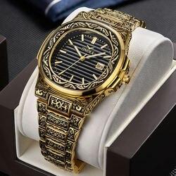ONOLA marca mens relógios de pulso de luxo cobre Retro homem de aço inoxidável relógios de quartzo quadrado relógios dos homens à prova d' água