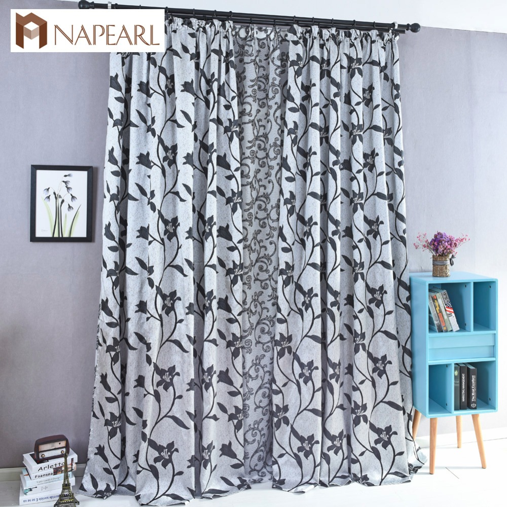 Blue bedroom window curtains - Floral Design Semi Blackout Curtain Shade Black Brown Blue Jacquard Curtain Window Treatment Living Room