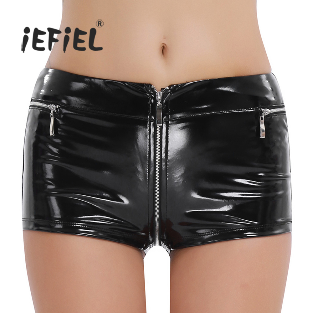 iEFiEL Womens Welook Patent Leather Zippered Open Crotch Boxer   Shorts   for Sexy Clubwear Slim Fit   Shorts   Dancing for Nightclub