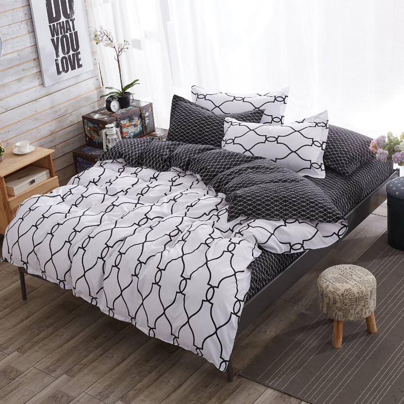 Luxury Soft Bedding Set Uk Usa Brazil 3pcs Duvet Cover Set King Size Queen Double Single Black