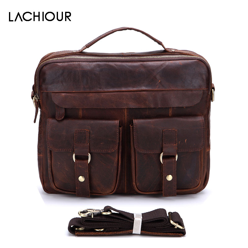 Lachiour Genuine Leather Men Handbags Crossbody Bags Casual Totes Leather Messenger Laptop Bag Shoulder Bags Male Briefcases mva pu leather laptop bag 14 large capacity totes handbags men s travel shoulder bags casual men bag messenger crossbody bags