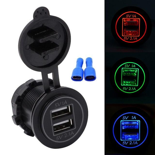 Cargador USB para coche de 12 V-24 V 3.1A para motocicleta Auto camión ATV barco luz LED doble toma USB cargador adaptador de corriente toma de corriente