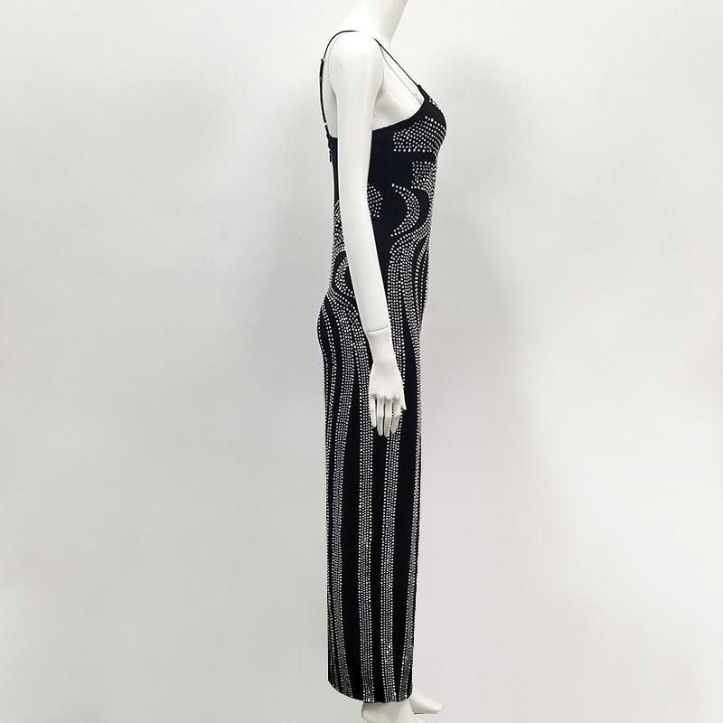 Nuove Donne Lavorato Lungo Maglia Design Di Da A Vestito Sexy 2019 Ha Diamanti Lusso Partito Delle Nero rrwdSq