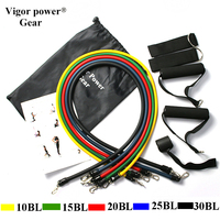 Vigor Power Gear 11pcs 3 Resistance Band Set with Resistance Tube Door Anchor Handles Ankle Straps For Gym Workouts Crossfit