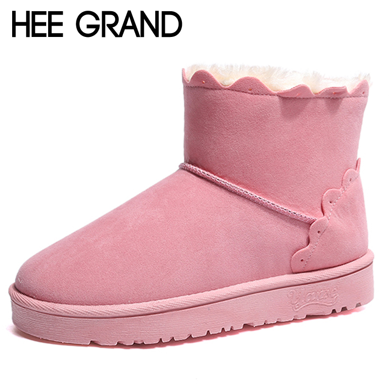 HEE GRAND Cute Faux Fur Women Snow Boots Slip on Ankle Boots Winter Warm Faux Suede Shoes Women Suede Girls Snow Boots XWX6942 faux suede stiletto ankle boots dusty rose