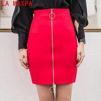 LA MAXPA Plus Size Slim Sexy Formal Office Skirt Faldas Women Elastic High Waist Metal Ring