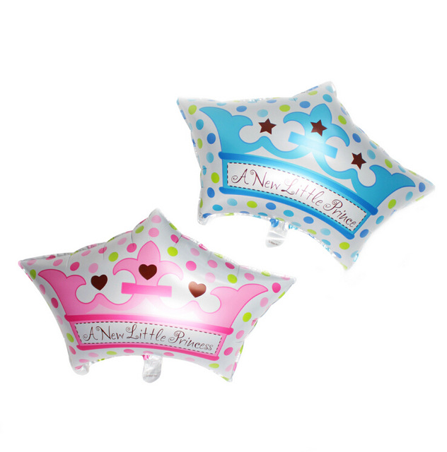 Lucky 50pcs lot Boy Girl Princess Crown Balloon Baby Shower Foil Helium Balloons For Baby Birthday