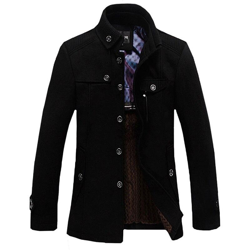 冬のジャケット男性カジュアル長いセクションのスタンドアップ襟メンズウインドブレーカージャケット肥厚ウールコート  グループ上の メンズ服 からの ウール混紡 の中 1
