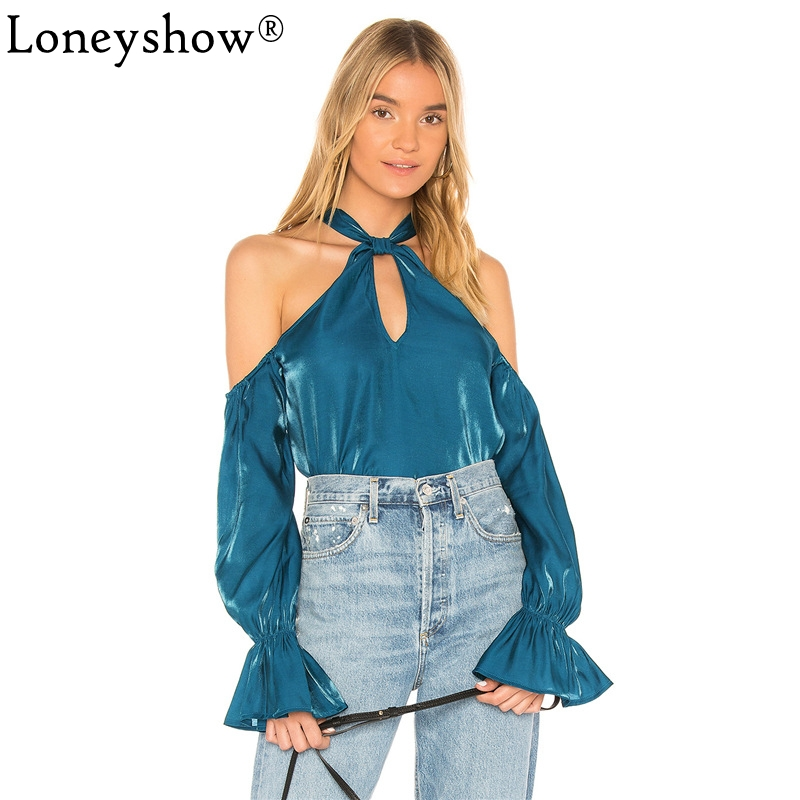 2018 Chic Satin Blouse Shirt Women Cold Shoulder Halter Bow Spring Office Lady Long Sleeve Tops Flare Sleeve Summer Work Blusas ...
