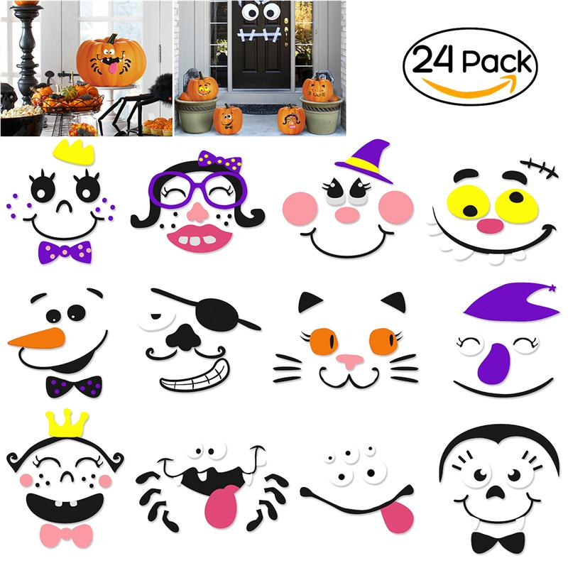 BESTOYARD 2 Sets Halloween Pumpkin Faces Decoration EVA 12-Design Face Expression Pumpkin DIY Stickers for Happy Halloween