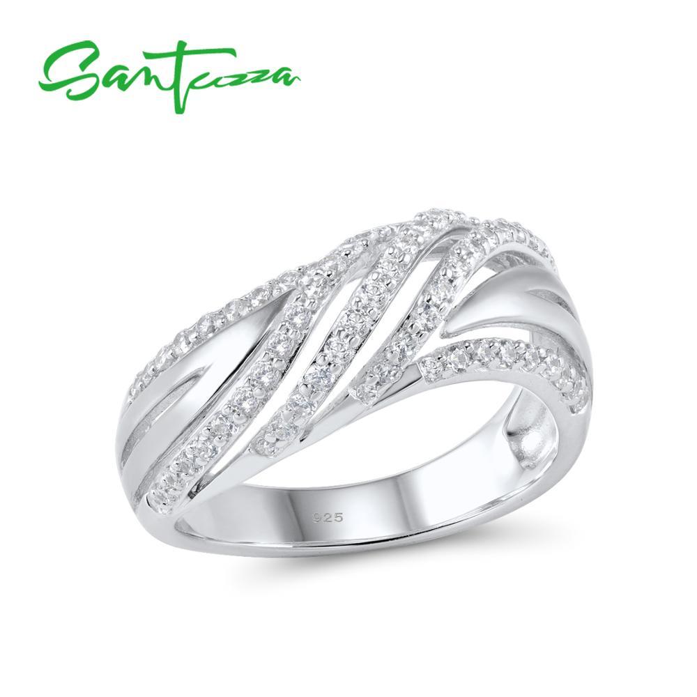 SANTUZZA כסף טבעות לנשים אירוסין חתונה טבעת לבן מעוקב Zirconia אבן טהור 925 סטרלינג כסף שיק תכשיטים