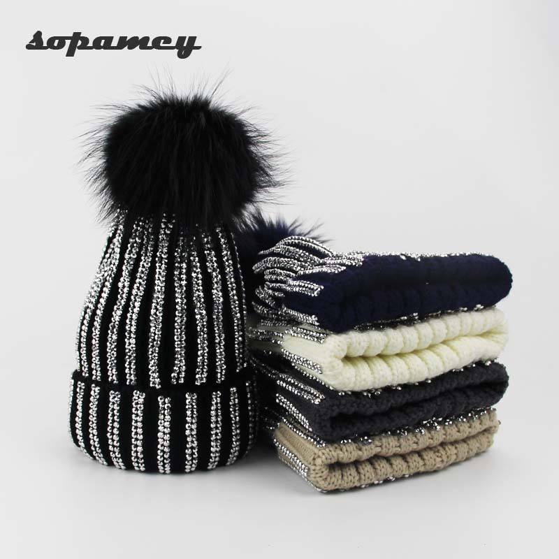 Women Beanies Raccoon Fur Pom Poms Wool Hat Beanie Knitted Skullies Fashion Caps Ladies Knit Cap Winter Hats For Women Wholesale
