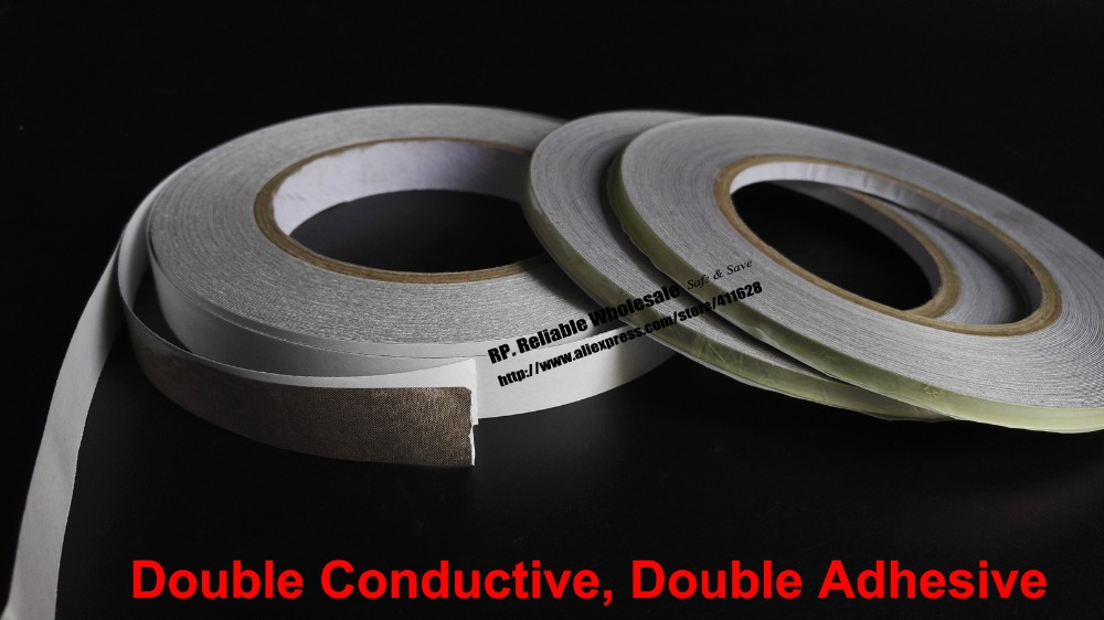 5mm~50mm choose *20M Double Adhesive, Double Sided Conduct Fabric Tape for Laptop Tablet Phone, Cable EMI Shield Radiation-proof 10mm 20m 0 5mm double sided black sticky sponge foam tape gasket for android machine mainboard tablet panel seal dust proof