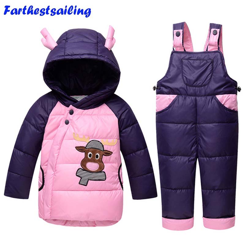 Baby Clothing Sets 2PCS Down Jacket + Jumpsuit Pants Winter Kids Down Ski Suits Boys Girls Hooded Outerwear Children Snow Suit